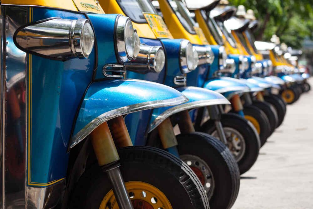 line of tuktuk in Thailand