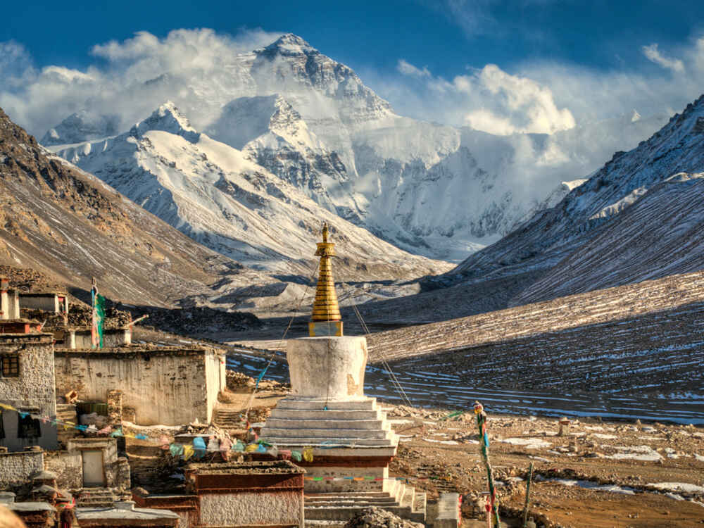 Mount Everest from Ronguok monastery, Tibet, China - Backyard Travel