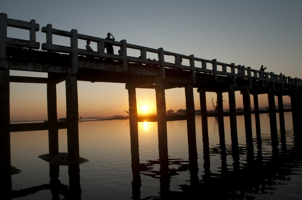 Myanmar family holiday: Walk bridge in Inle Lake