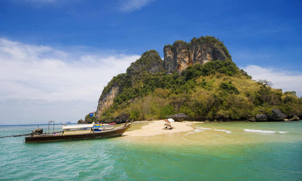 island and a boat in Thailand in a sunny day