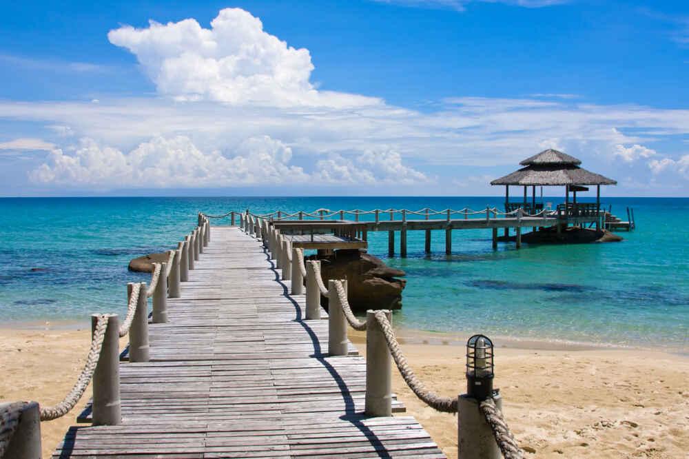 Koh Kood island with bridge into the sea