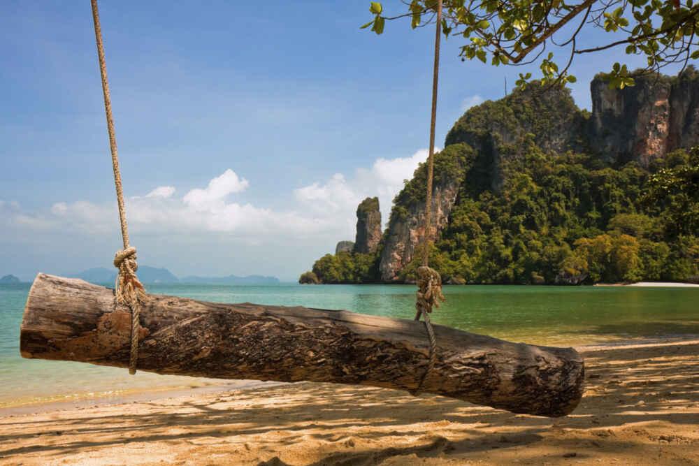 Log Swing on the Tropical Beach in Krabi,Thailand