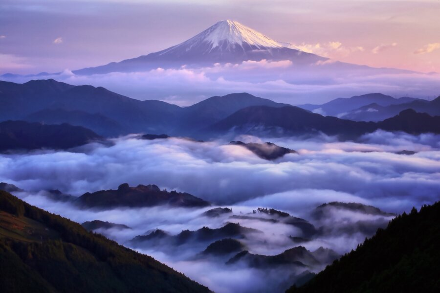 cloudy landscape of Japan with Mt. Fuji on the background
