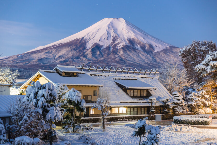 Oshino village at the feet of Mt. Fuji during winter