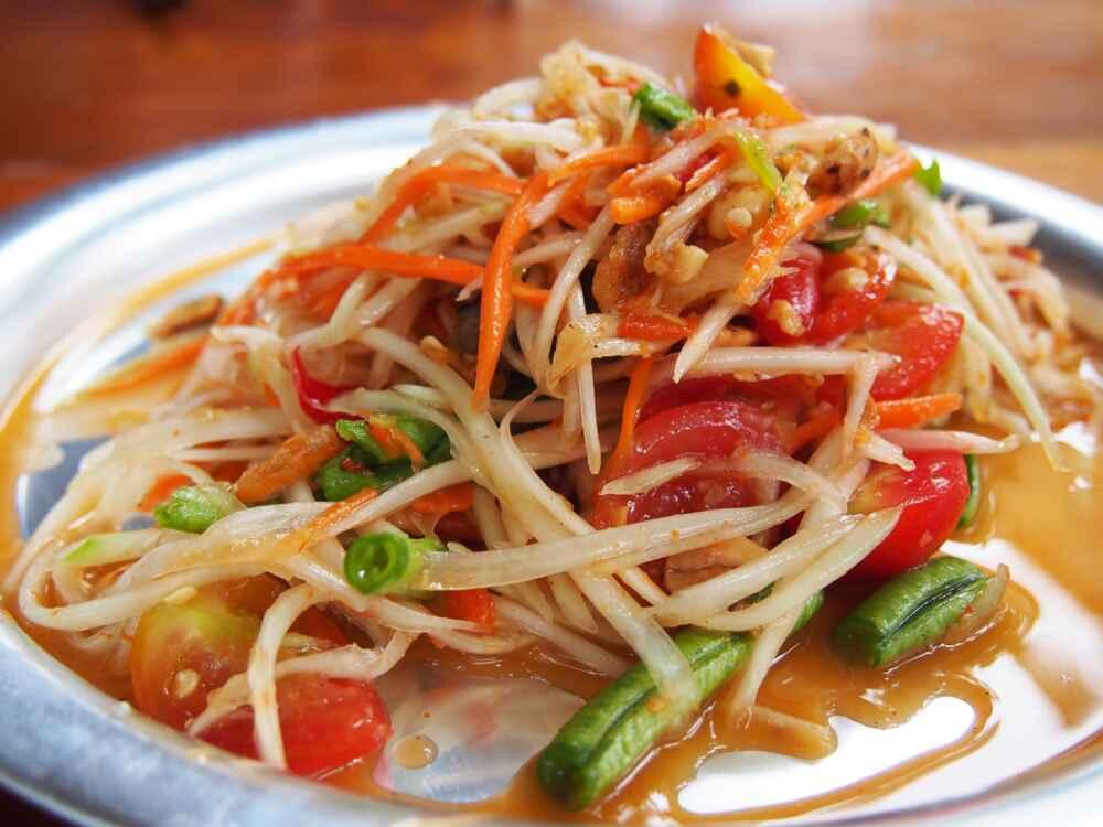Papaya salad (Som Tam) Traditional Thai Food
