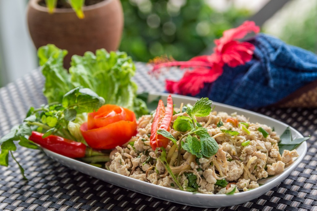 Laos local dish: Pork Larb - pork salad Laos