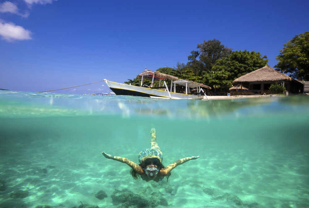 Indonesia Bali Collage with Woman Diving