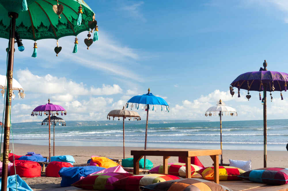 colourful beach umbrellas and pillows in Kuta Bali indonesia