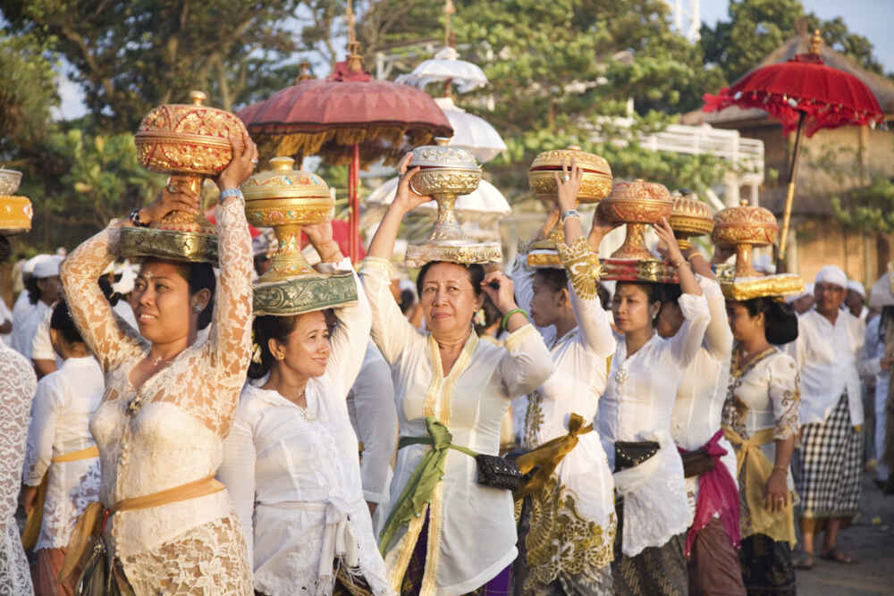 Indonesia People Balinese going to a ceremony