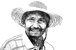 Sketch of a chinese man with hat - Backyard Travel