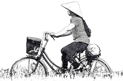 vietnam private tours sketch of a vietnamese cyclist