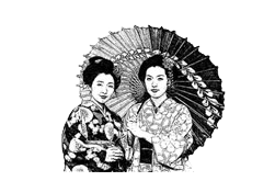 sketch of a geisha