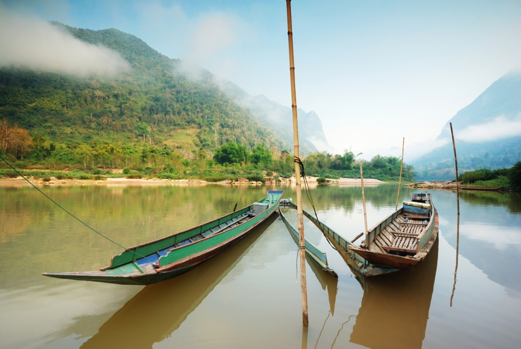 Boat longtail Mekong River Luang Prabang