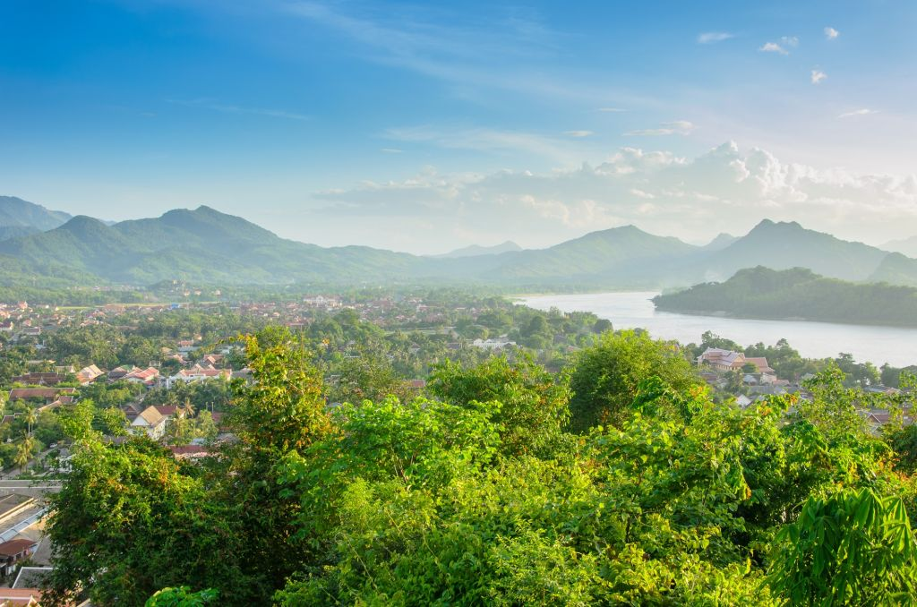 Christmas holiday in Asia - Viewpoint and landscape in luang prabang, Laos.