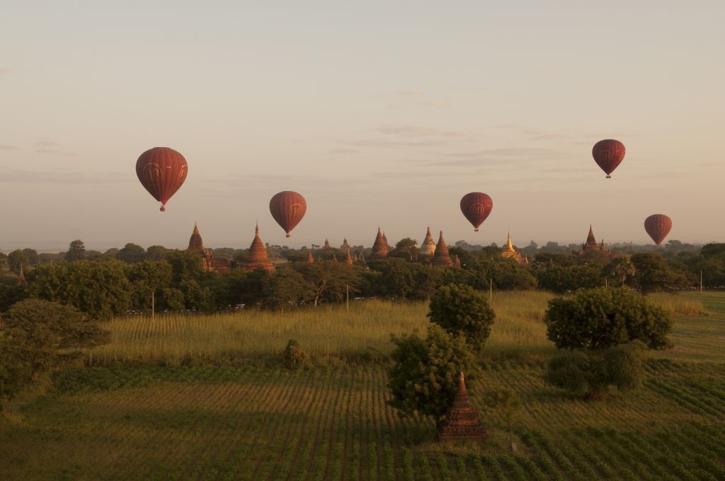 Travel experiences only in Asia: flying hot air balloons over Bagan, Myanmar