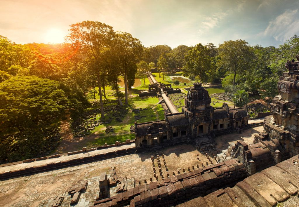 Cambodia with kids: Angkor wat viewed from the top
