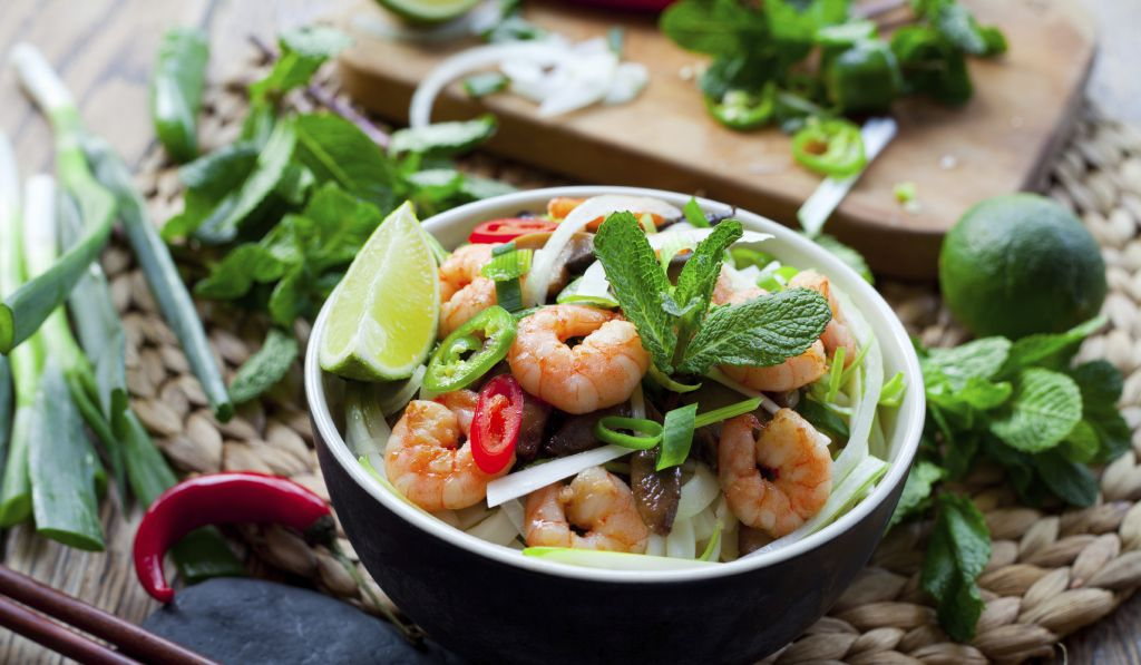 Vietnamese food - prawn rice noodles