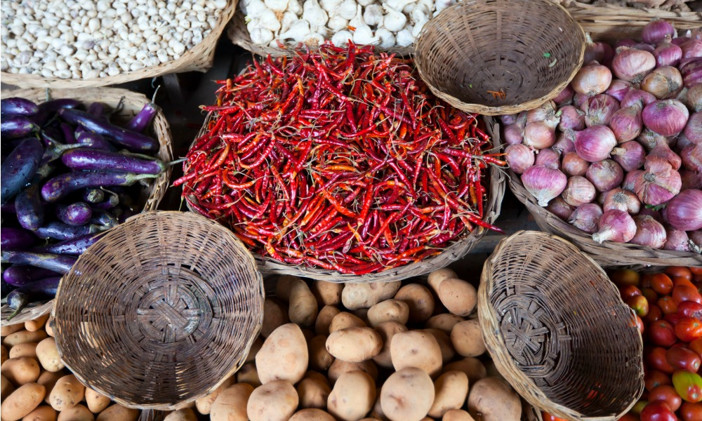 Why travel to Myanmar - local market vegetable stalls