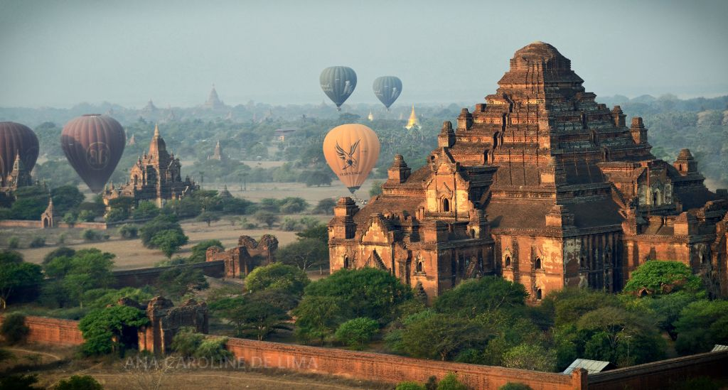 Why travel to Myanmar - get on hot air balloon over looking Bagan, Myanmar