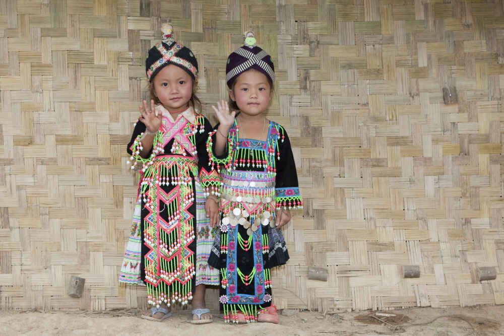 Laos People kids wearing traditional costume