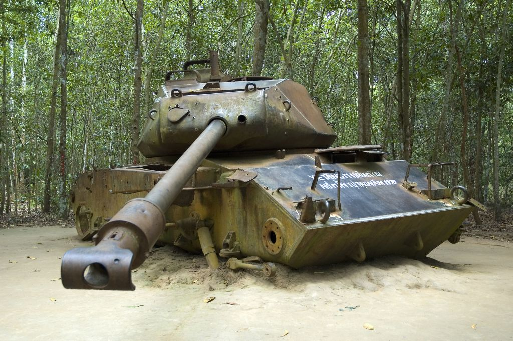 Cuchi Tunnel: American Tank at Vietnam war