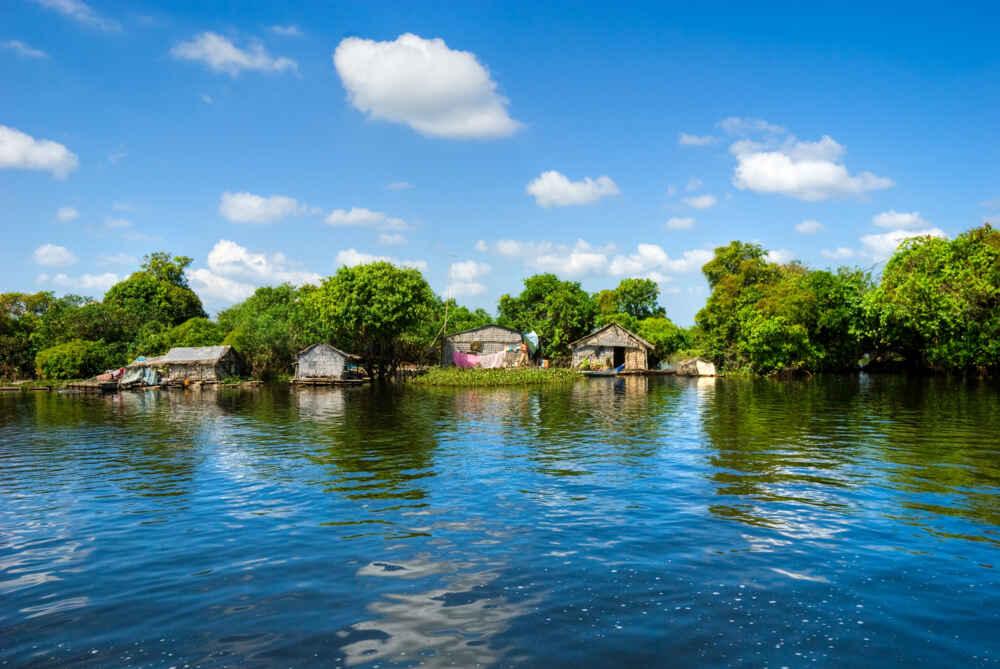 Cambodia floating houses Tonle Sap Lake luxury cruises in Asia