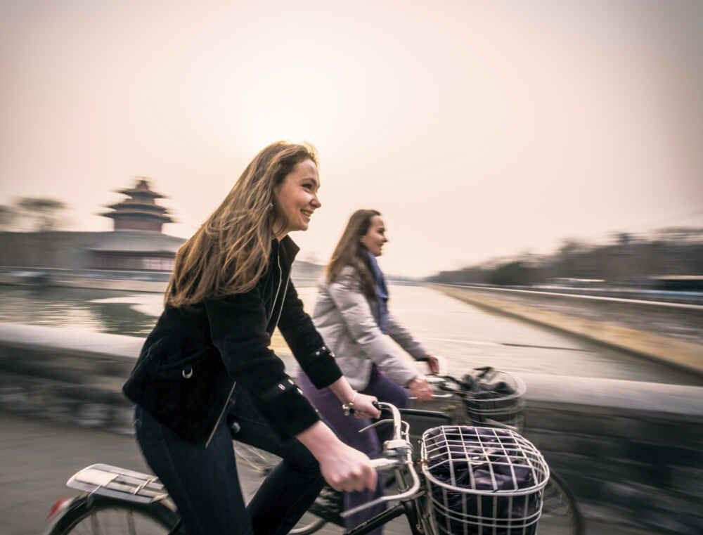 China Beijing Riding bicycles multi country holidays in asia