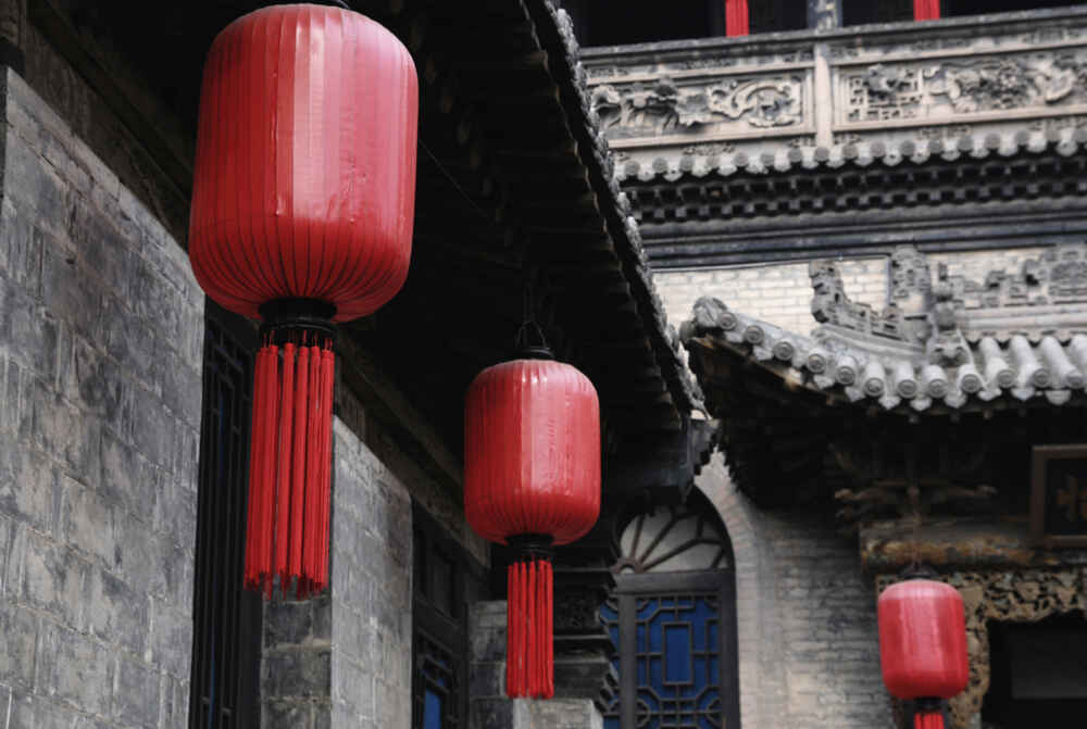 Red lanterns of chinese style structure for new year China