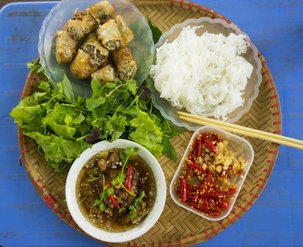 Bun cha the famous vietnamese noodle soup