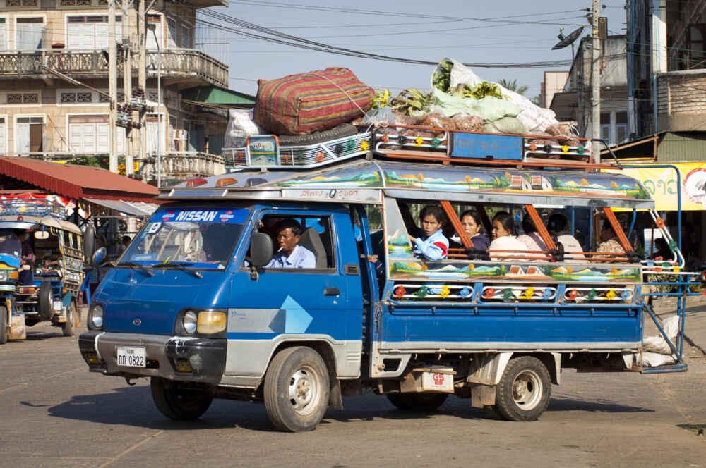 Laos Southern Laos Songthaew taxi