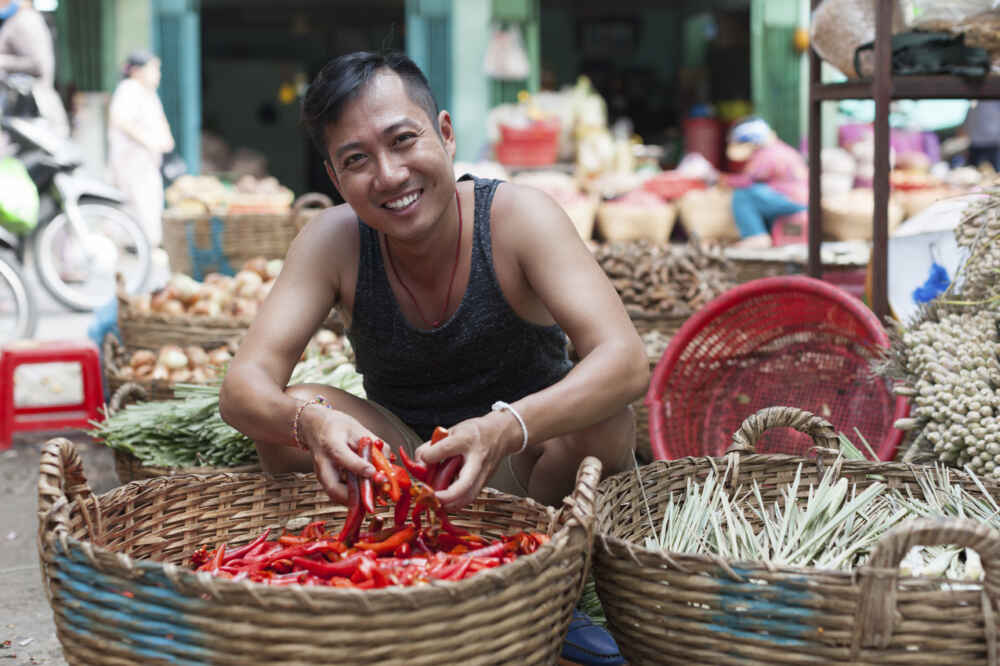 Vietnam People happy vendor