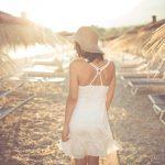 Best beach vacation destination getaway.Stylish wear on beach,vacation traveling.Honeymoon