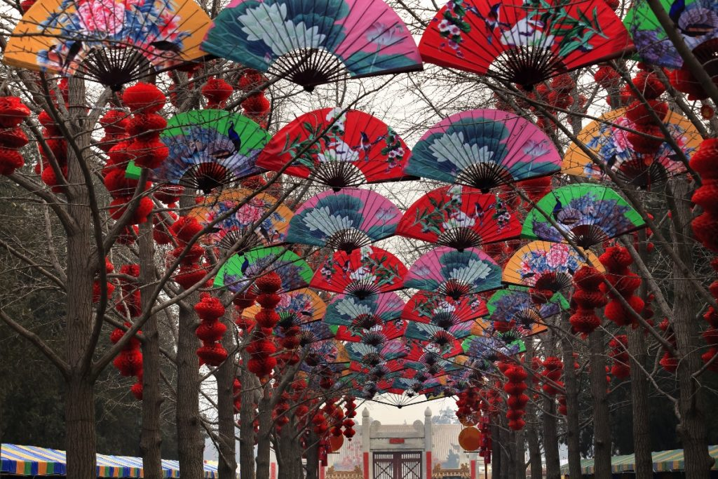 Colorful umbrellas of china