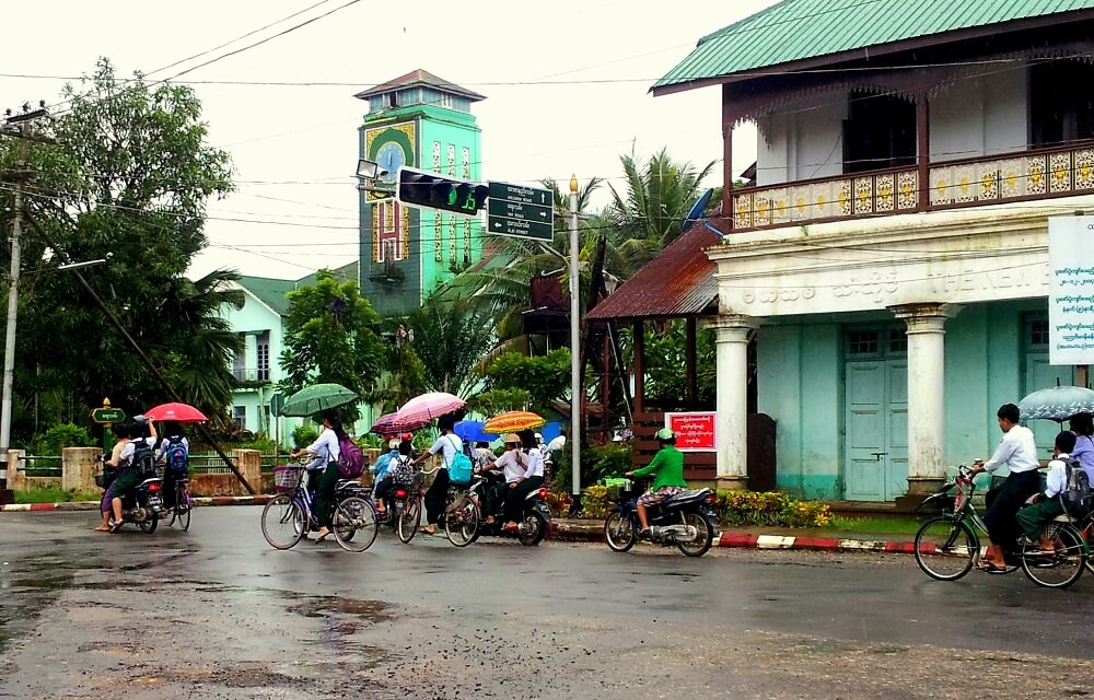 Southern Myanmar tour: bikes on the street od Dawei