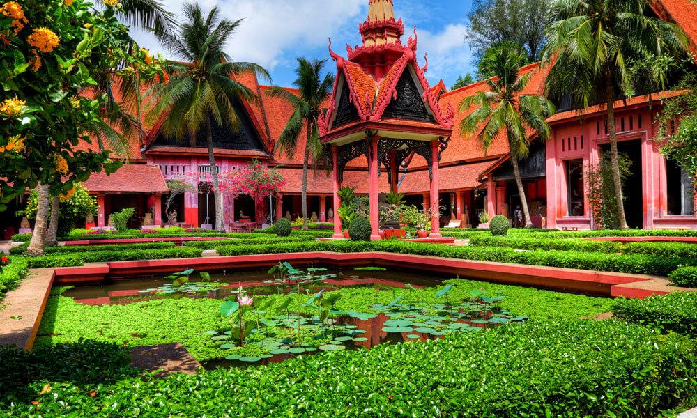 Garden inside National Museum Phnom Penh Cambodia