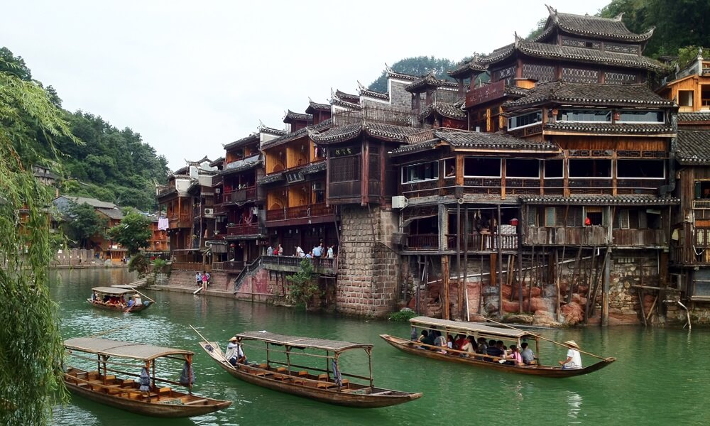 Fenghuang houses and river in china
