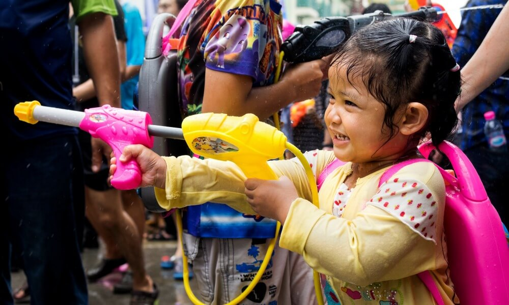 Child play with water on Chiang Mai Songkran Festival