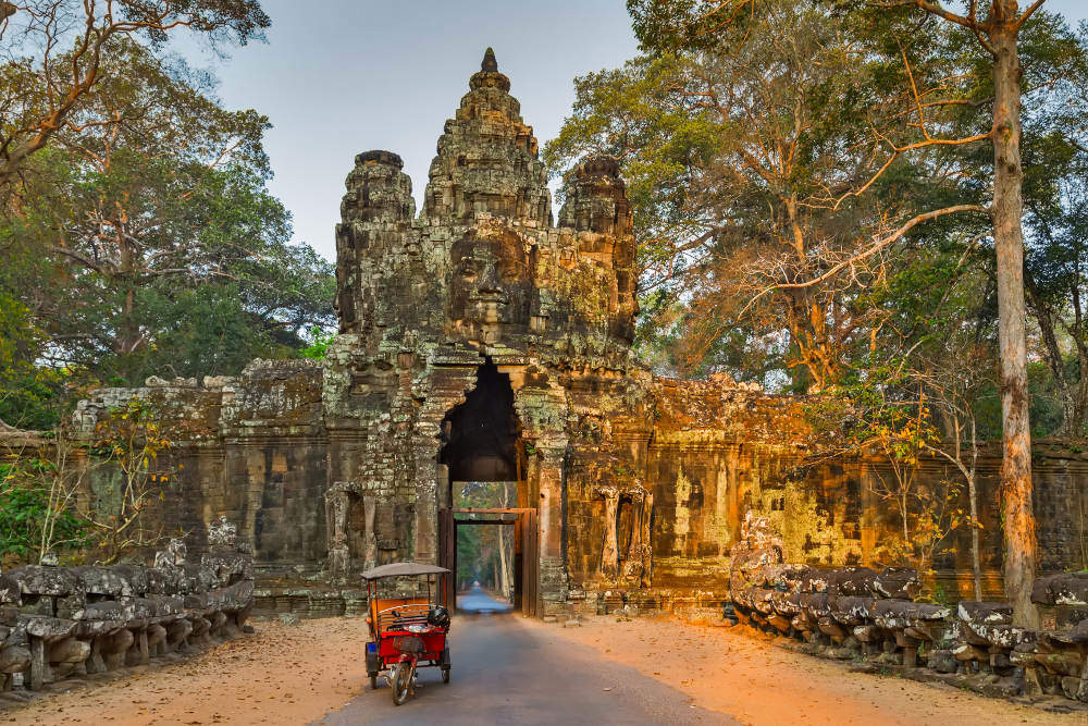 Cambodia with kids: Temple of Angkor Wat complex in sunset