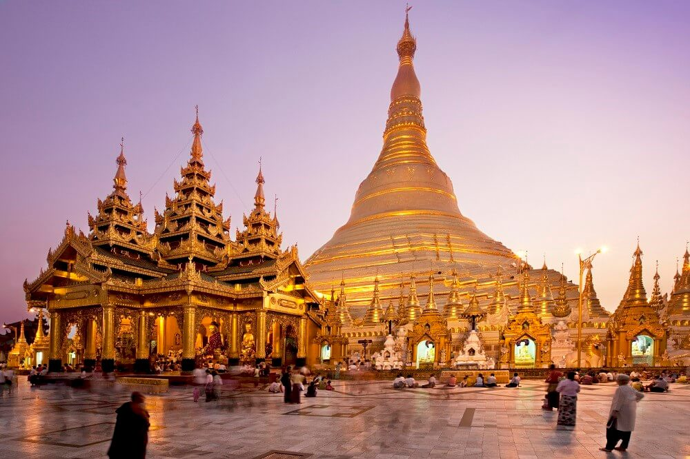 Golden pagoda visited in a Myanmar family holiday