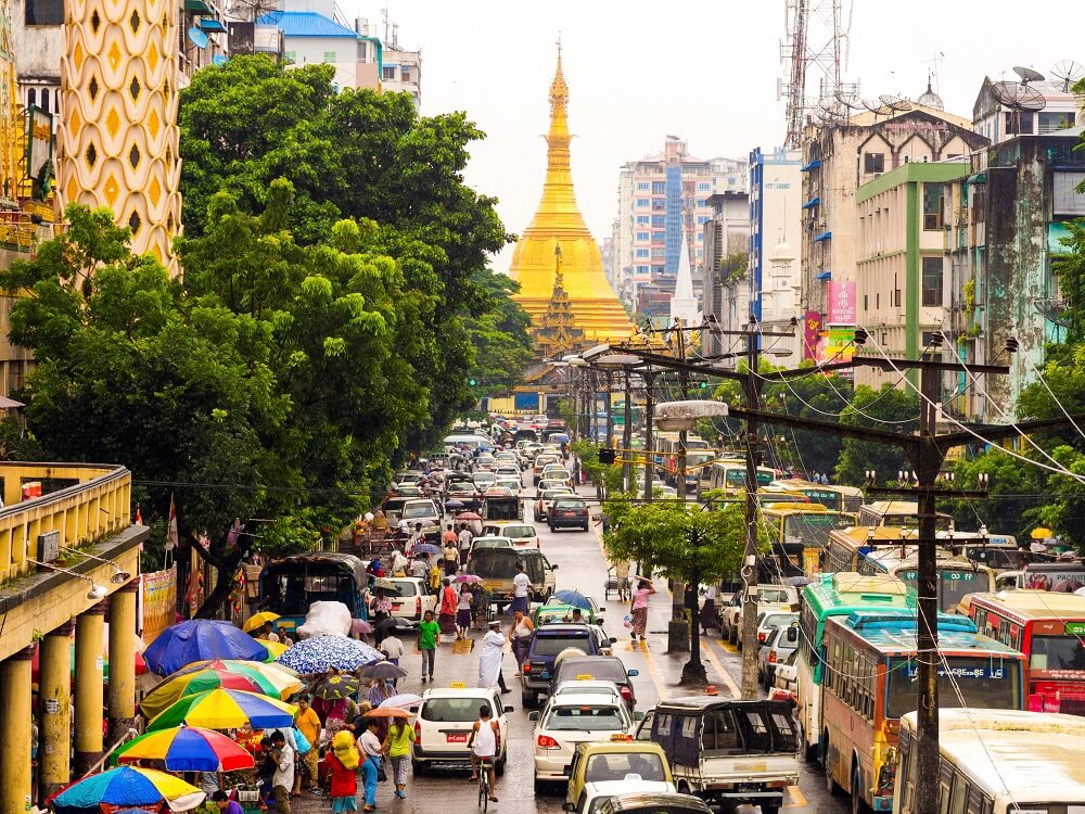 street of Myanmar in holidays