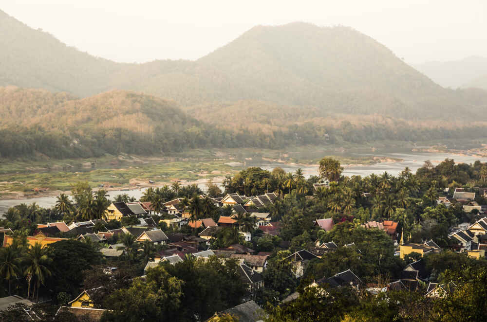 Panoramic view of Mekong river at Luang Prabang Laos just before sunset