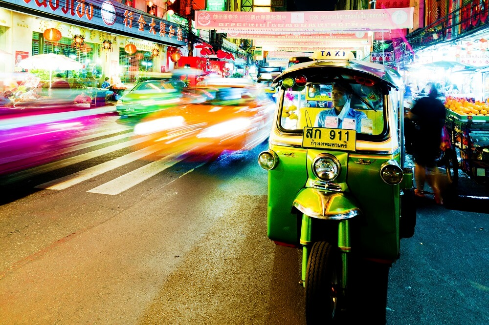 Thailand, Laos and Cambodia tour: tuk tuk waiting for passengers at night