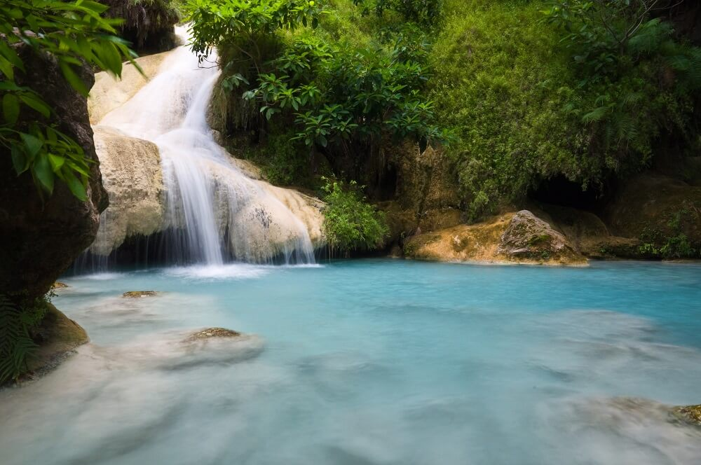 Kanchanaburi Erawan waterfall visited on a Family Holiday in Thailand