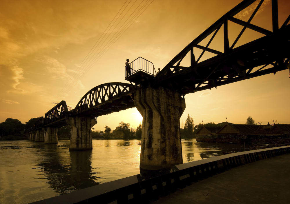 Kanchanaburi bridge at sunset