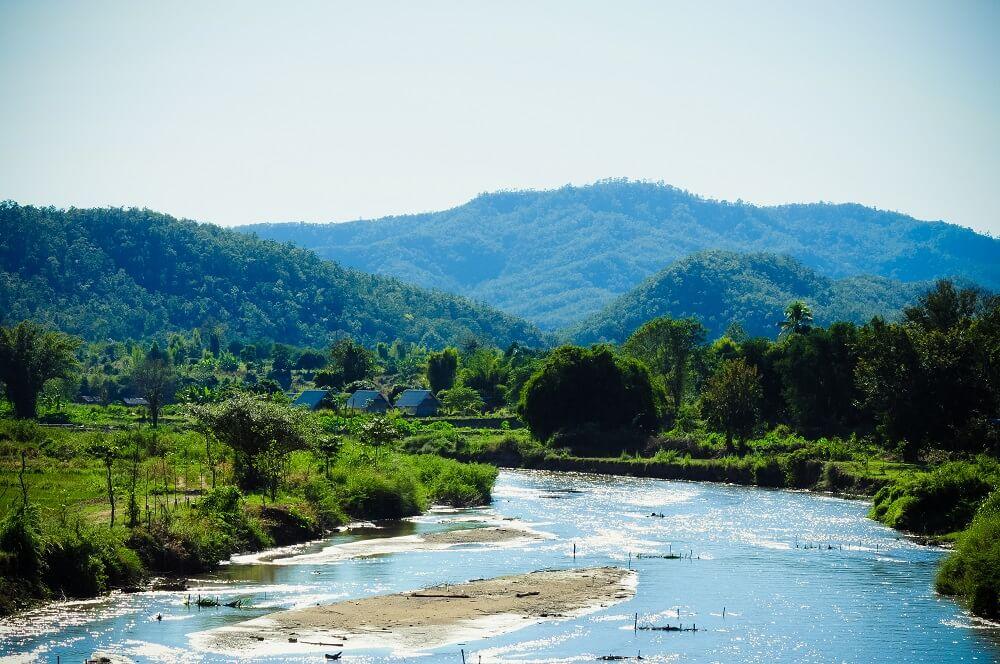 Thailand family tour: river in Pai, Thailand