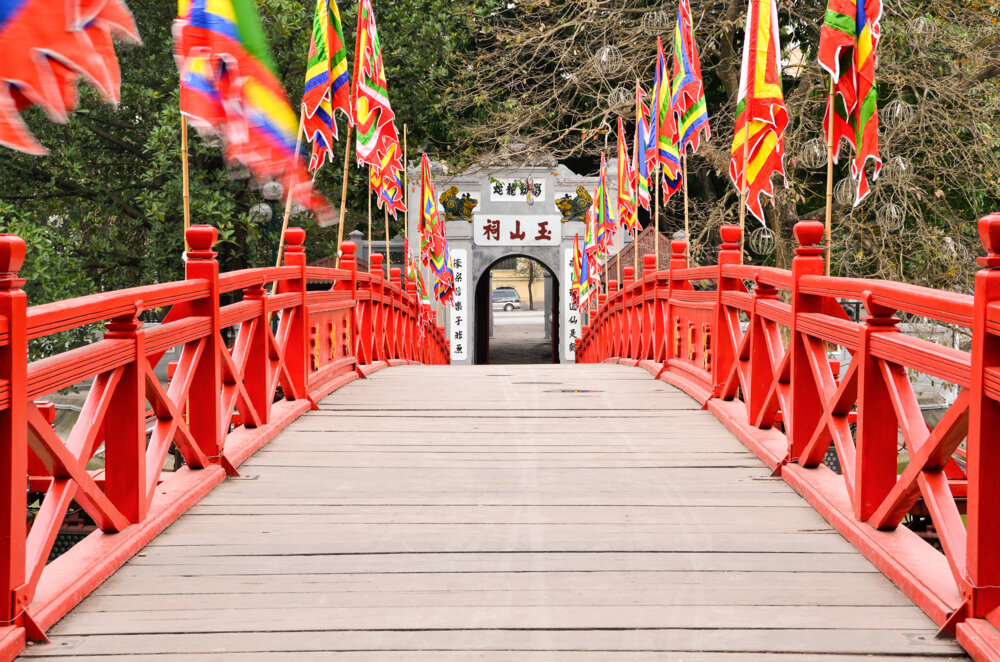 This is the view across the Huc Bridge towards the exit from the Ngoc Son Temple