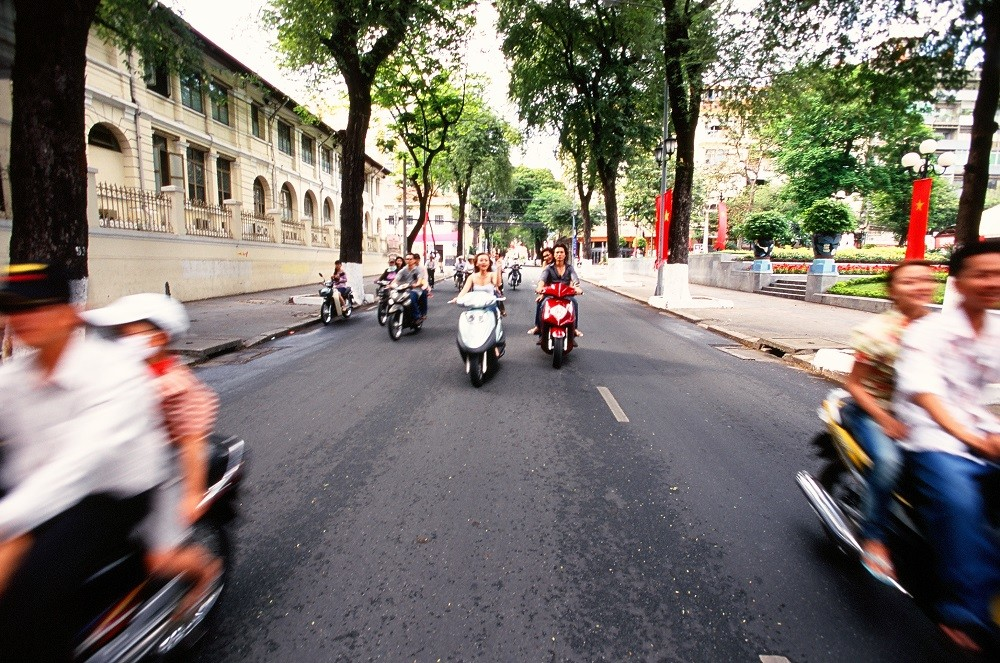Motobikes on the road of Ho chi Minh city, Vietnam