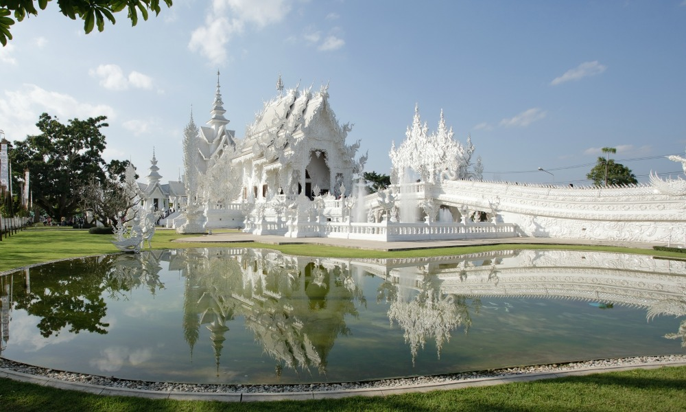 White temple in Chiang Rai visited on the Bangkok to Chiang Mai tour