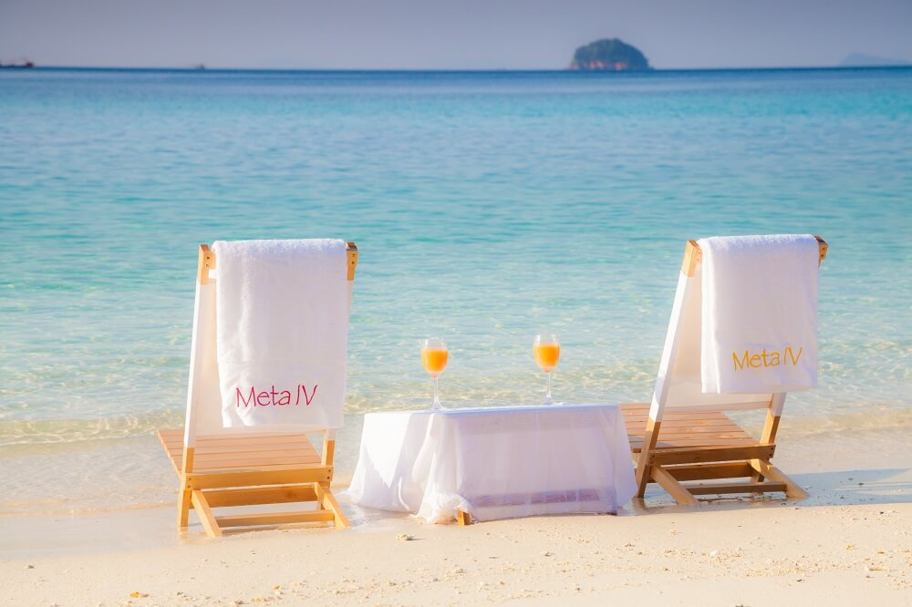 two chairs on a pristine beach in Borneo
