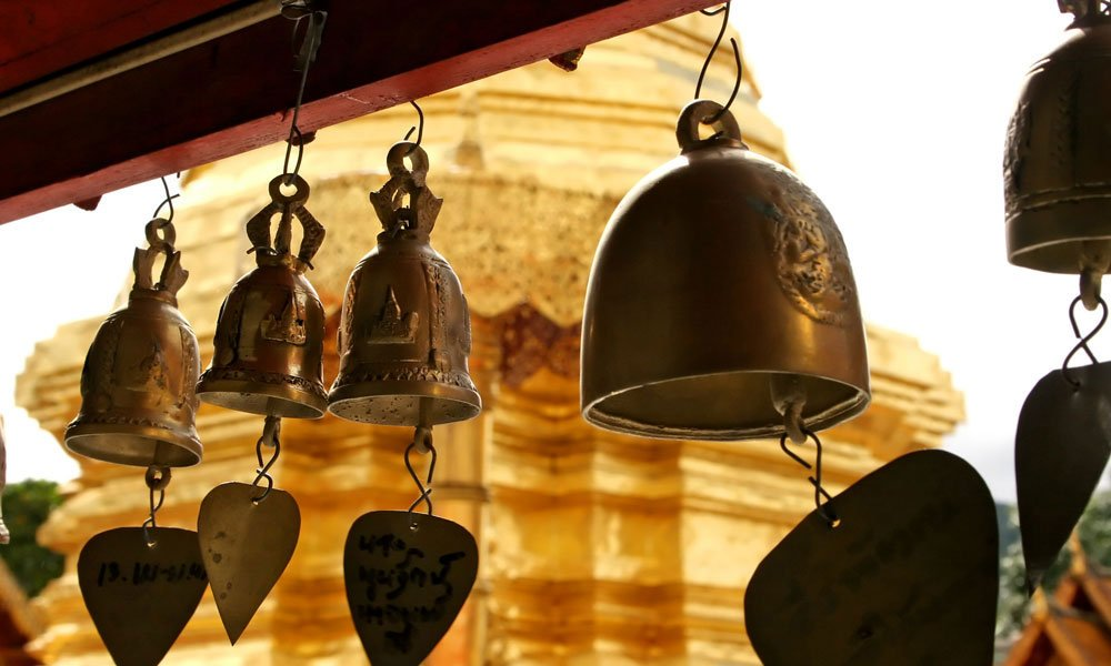 Honeymoon in Thailand: Bells at Doi Suthep temple in Chinag Mai